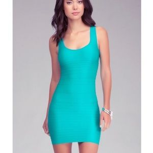 Bebe turqoiuse bodycon cut out tank dress